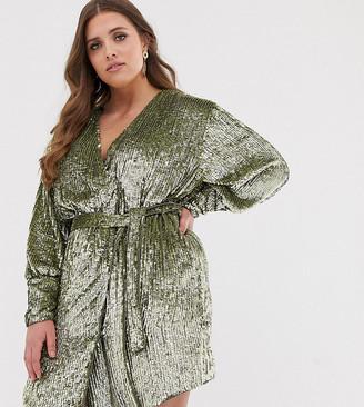 Asos Edition EDITION Curve sequin wrap mini dress-Green