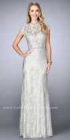 La Femme Rhinestone Encrusted Lace High Collar Evening Dress