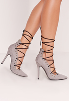 Missguided Eyelet Detail Lace Up Court Shoe Grey