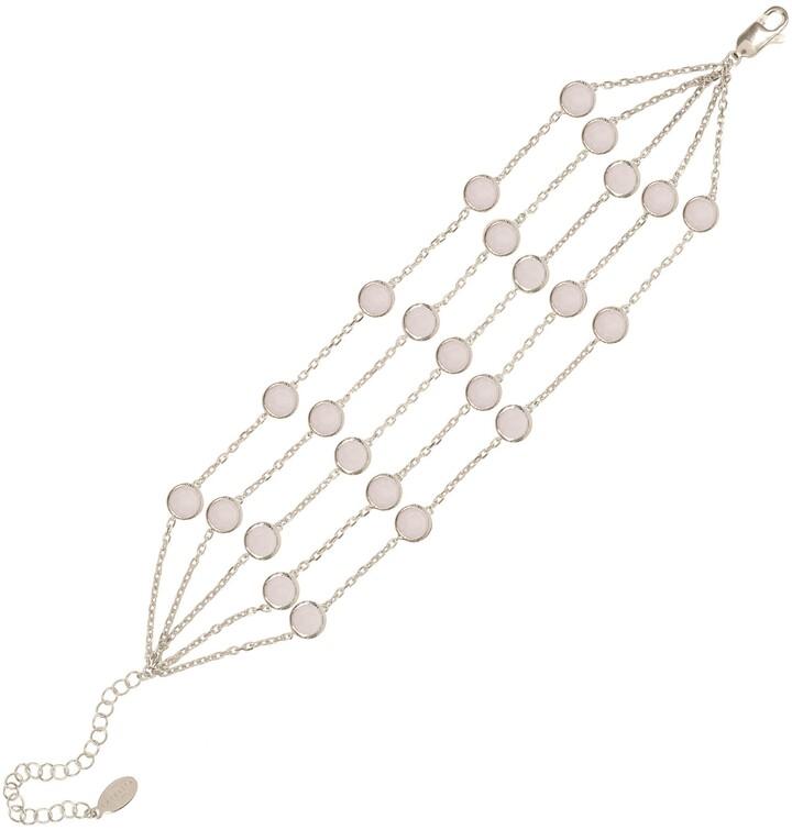 LATELITA - Naples Statement Gemstone Bracelet Silver Rose Quartz