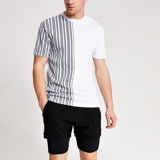 River Island Concept white slim fit stripe-shirt