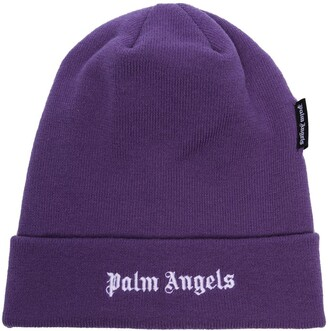 Palm Angels Logo Embroidered Beanie Hat