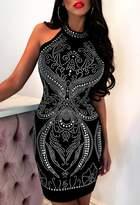 Pink Boutique Diva Attitude Black Diamante Halter Neck Midi Dress
