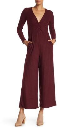 Taylor & Sage Front Twist Long Sleeve Jumpsuit