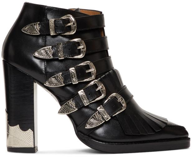 Toga Pulla Black Five Buckle Heeled Western Boots