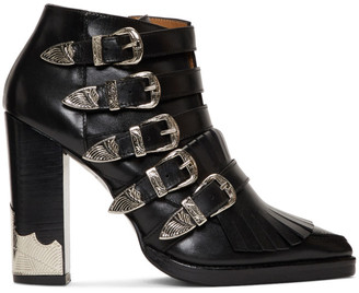 Toga Pulla Black Five Buckle Heeled Western Boots