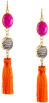 Panacea Linear Tasseled Druzy Dangle Earrings, Multi