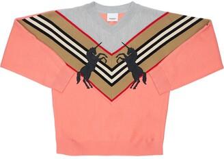 Burberry Intarsia Wool Blend Knit Sweater
