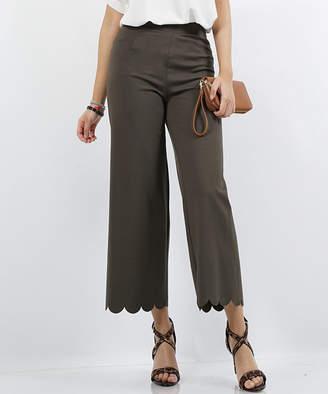 Lydiane Women's Casual Pants DK - Dark Olive Scallop-Hem High-Rise Crop Pants - Women