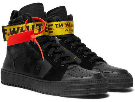 Off-White Industrial Leather, Suede And Ripstop High-Top Sneakers
