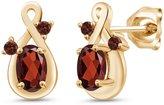 Gem Stone King 1.18 Ct Genuine Oval Garnet Gemstone 18k Yellow Gold Earrings