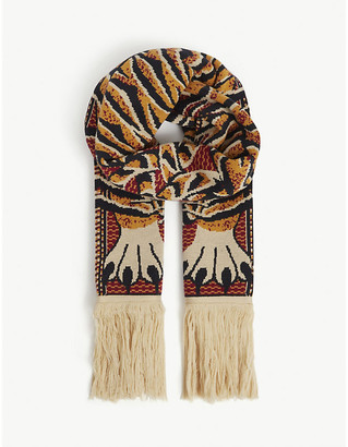 Y/Project Tiger graphic-print merino wool jacquard scarf