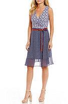 Donna Morgan Mixed Print Wrap Dress