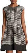 Gabby Skye Houndstooth Fit-and-Flare Dress, Black/Tan