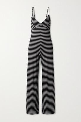 Norma Kamali Slip Striped Stretch-jersey Jumpsuit - Black