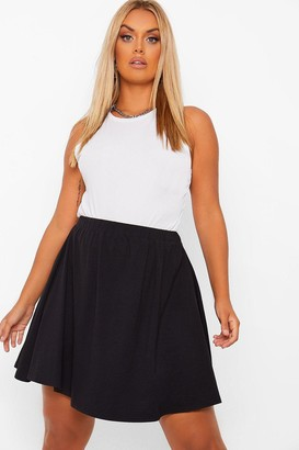 boohoo Plus Cotton Basic Mini Skater Skirt
