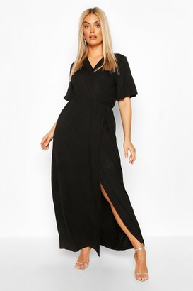 boohoo Plus Angel Sleeve Wrap Maxi Dress