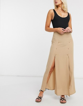 ASOS DESIGN double split maxi skirt in light brown