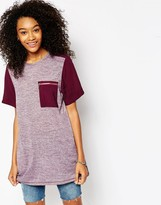 Asos Tunic T-Shirt in Oil Wash with Pocket