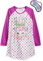 Sleep On It Girls' or Little Girls' 2-Pc. You Are My Super Hero Sleep Shirt & Eye Mask Set