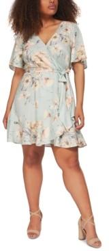 Black Tape Plus Size Printed Wrap Dress