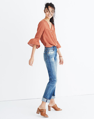 Madewell Veranda Bell-Sleeve Shirt in Windowpane