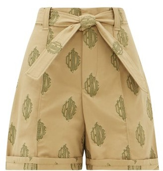 Chloé Logo-jacquard Cotton-canvas Shorts - Womens - Beige