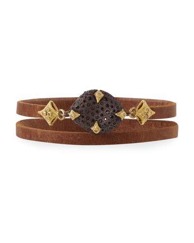 Armenta Old World Leather Double-Wrap Bracelet with Diamonds