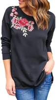 Mupoduvos Women Solid Long Sleeve Round Neck Rose Embroidered T Shirt Top Tee M