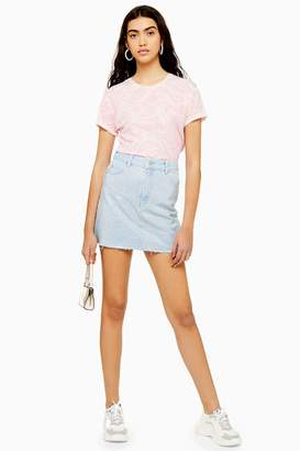 Topshop Womens Tall Diamante Denim Skirt - Bleach Stone