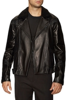 3.1 Phillip Lim Leather Shearling Collar Motorcycle Jacket
