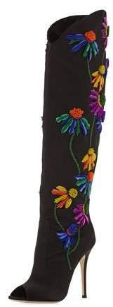 Giuseppe Zanotti Floral-Embroidered Peep-Toe Satin Boot