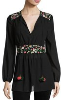 Tory Burch Long-Sleeve Tie-Neck Floral Appliqué Tunic