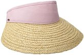 Scala Women's Raffia Visor with Dyed Cotton Crown