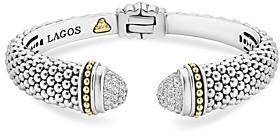 Lagos Sterling Silver & 18K Yellow Gold Caviar Diamond Cuff