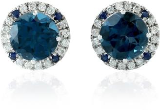 Artisan 18Kt White Gold Blue Sapphire Daimond Topaz Stud Earring Handmade Jewelry