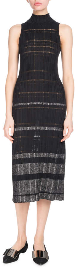 Proenza Schouler Turtleneck Sleeveless Striped Ribbed Knit Midi Dress