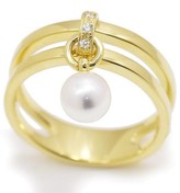 Mikimoto 18K Yellow Gold with Akoya Pearl & Diamond Ring Size 7
