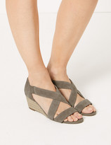 Marks and Spencer Suede Wedge Heel Crossover Strap Sandals