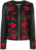 Philipp Plein heart patch jacket - women - Lamb Skin/Polyester/Spandex/Elastane - M