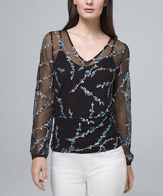 White House Black Market Women's Blouses Black - Black & River Sheer Floral-Embroidery V-Neck Top - Women & Juniors