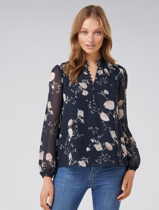 Forever New Jayde Open Placket Blouse - Midnight Bloom - 4