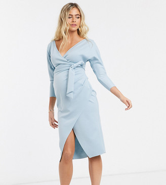 ASOS DESIGN Maternity bardot wrap batwing sleeve midi dress with self tie belt in soft blue