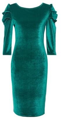 Dorothy Perkins Womens Tall Green Puff Sleeve Velvet Bodycon Dress, Green