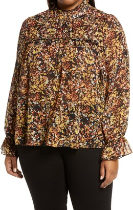 Adyson Parker Abstract Floral Ruffle Blouse