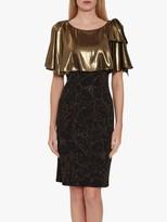 Gina Bacconi Catina Metallic Fitted Dress, Black/Gold
