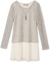 Speechless Boucle-Knit Pleated Dress & Necklace Set, Girls (7-16)