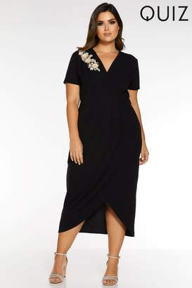 Quiz Womens Curve Wrap Front Embellished Midi Dress - Black