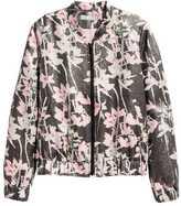 H&M Silk-blend Bomber Jacket - Black floral - Ladies