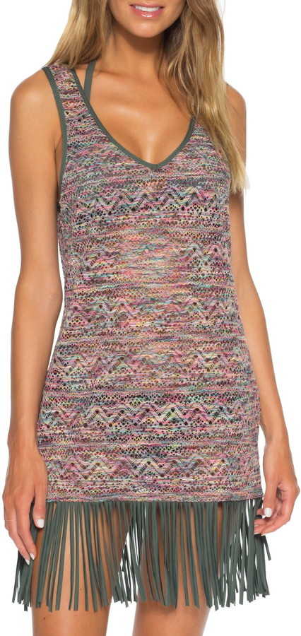 Becca Reveal Crochet Fringe Hem Cover Up Dress